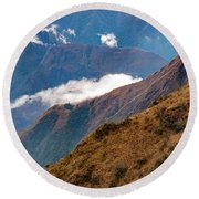 Above The Clouds In The Andes Round Beach Towel