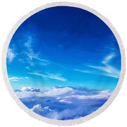 Above The Clouds Sky Is Always Blue Round Beach Towel