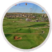 Above The Course Round Beach Towel