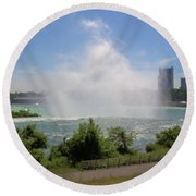 Above The Falls 3 Round Beach Towel