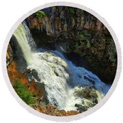 Above Undine Falls Round Beach Towel
