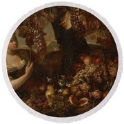 Abraham Brueghel After, Girl With Grapes And Still Life With Fruit. Round Beach Towel