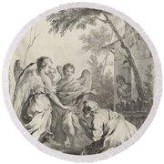 Abraham Kneeling Before The Three Angels Round Beach Towel