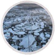 Abraham Lake Ice Bubbles Round Beach Towel