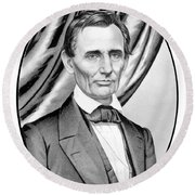 Abraham Lincoln Circa 1860 Round Beach Towel by War Is Hell Store