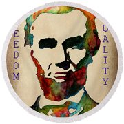 Abraham Lincoln Leader Qualities Round Beach Towel