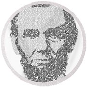 Abraham Lincoln Typography Round Beach Towel