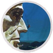Abraham Lincoln's Nose On The Mount Rushmore National Memorial  Round Beach Towel