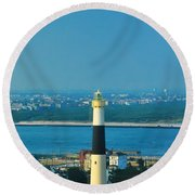 Absecon Lighthouse Atlantic City Round Beach Towel by Bill Cannon
