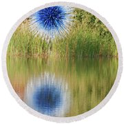 Abstact Sphere Over Water Round Beach Towel