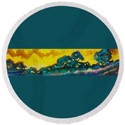 Abstract 01 Round Beach Towel