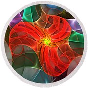 Abstract 061710a Round Beach Towel