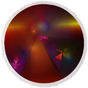 Abstract 062111a Round Beach Towel
