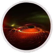 Abstract 081410a Round Beach Towel