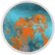 Abstract 104 Digital Oil Painting On Canvas Full Of Texture And Brig Round Beach Towel