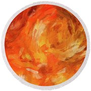 Abstract 106 Digital Oil Painting On Canvas Full Of Texture And Brig Round Beach Towel