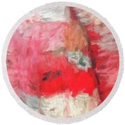 Abstract 107 Digital Oil Painting On Canvas Full Of Texture And Brig Round Beach Towel