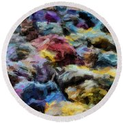 Abstract 133 Digital Oil Painting On Canvas Full Of Texture And Brig Round Beach Towel
