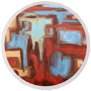 Abstract 147 Round Beach Towel by Patrick J Murphy