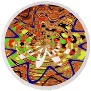 Abstract #1859drawpc Round Beach Towel