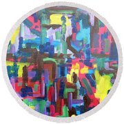 Abstract 213 Round Beach Towel by Patrick J Murphy