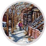 Scenes De Ville De Montreal En Hiver Original Quebec Art For Sale Montreal Street Scene Round Beach Towel