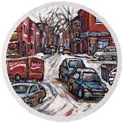 Ville Emard En Peinture Scenes De Ville De Montreal En Hiver Petit Format A Vendre Round Beach Towel