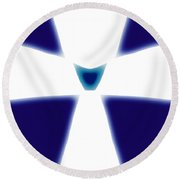 Abstract 33 Blue White Glow Round Beach Towel