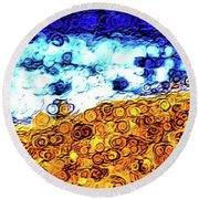 Abstract 3821 Round Beach Towel