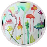 Blob Flowers Round Beach Towel