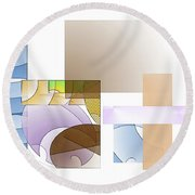 Abstract #503 Round Beach Towel