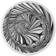 Abstract 527 Bw Round Beach Towel