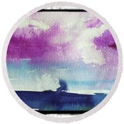 Purple Sky's  Round Beach Towel