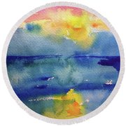 Floating In Blue Round Beach Towel