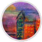 Abstract - Acrylic - Lost In The City Round Beach Towel