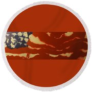 Abstract American Flag - Red, White And Blue The Star Spangled Banner Round Beach Towel by Adam Asar