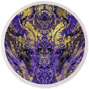 Abstract Amethyst  With Gold Marbled Texture Round Beach Towel