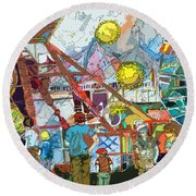Abstract Amusement Park Round Beach Towel