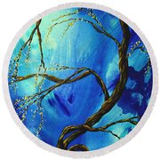 Abstract Art Asian Blossoms Original Landscape Painting Blue Veil By Madart Round Beach Towel