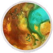 Abstract Art Colorful Turquoise Rust River Of Rust I By Madart  Round Beach Towel
