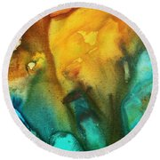 Abstract Art Colorful Turquoise Rust River Of Rust IIi By Madart Round Beach Towel