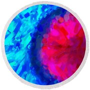 Abstract Art Combination - The Pink Martian Crater, Ca 2017, By Adam Asar ,  In 3d Watercolor Round Beach Towel