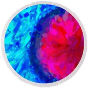 Abstract Art Combination - The Pink Martian Crater, Ca 2017, Byy Adam Asar Round Beach Towel