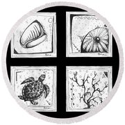 Abstract Art Contemporary Coastal Sea Shell Sketch Collection By Madart Round Beach Towel