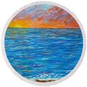 Abstract Art- Flaming Ocean Round Beach Towel