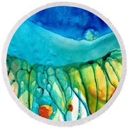 Abstract Art - Journey To Color - Sharon Cummings Round Beach Towel