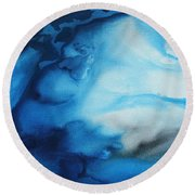 Abstract Art Original Blue Pianting Underwater Blues By Madart Round Beach Towel