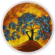 Abstract Art Original Landscape Painting Dreaming In Color By Madartmadart Round Beach Towel by Megan Duncanson