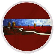 Abstract Art Original Landscape Painting Winding Road By Madart Round Beach Towel