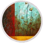 Abstract Art Original Poppy Flower Painting Subtle Changes By Madart Round Beach Towel
